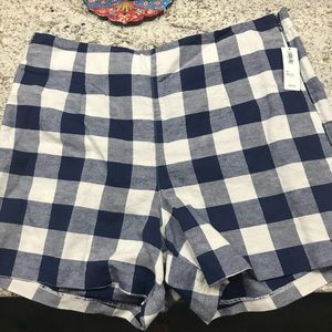 NWT blue checkered old navy shorts size 12